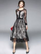Black Lace Long Swing Party Dress