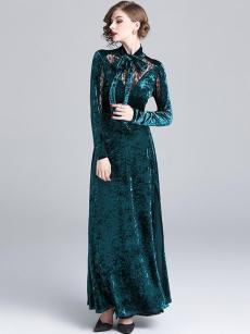 Contrast Lace Elegant Velvet Evening Dress