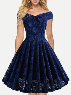 Boat Neck Embroidered Lace Homecoming Dress