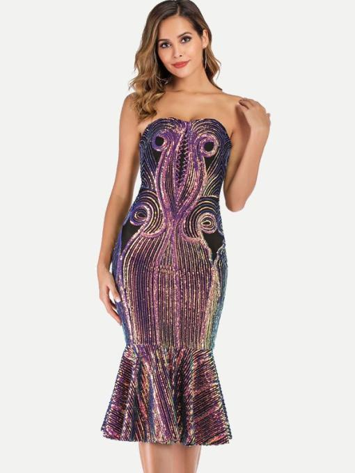 Color Block Sequin Bodycon Mermaid Bandeau Formal Dress