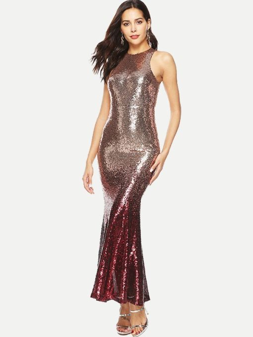Gradient Sequin Mermaid Bodycon Tank Formal Dress
