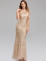 Sequin Embroidered Mesh Maxi Mermaid Formal Dress