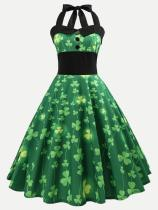 Halter Neck Four Leaf Clover Print Flared Dress