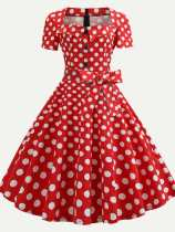50s Square Neck Polka Dots Print Flared Dress