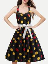 50s Halter Neck Polka Dots Print Circle Dress