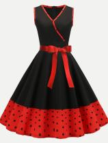 V Neck Polka Dots Print Tank Swing Dress
