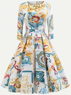 Vintage Floral Print Flared Dress With Sleeves