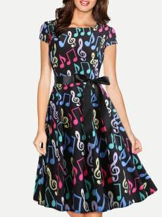 Notes Print Retro A-line Dress With Sleeves
