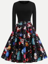 Christmas Print Flared Belted Vintage Dress