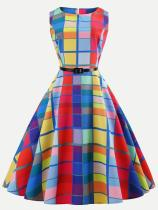 Colorful Plaid Print Belted Tank Flared Dress