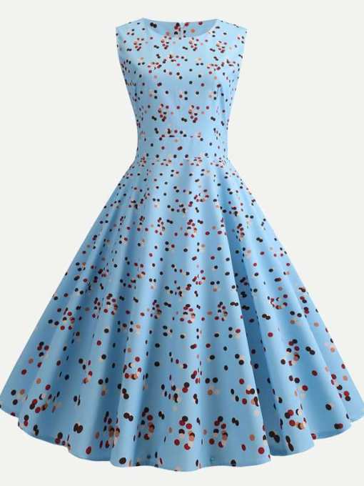 Polka Dots Print Sleeveless A-line Dress