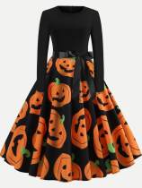Halloween Print Long Sleeve A-line Dress