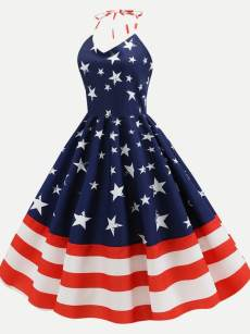 50s Independence Day Striped Star Halter Dress