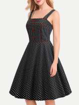Polka Dots Print Tank Slip Flare Dress