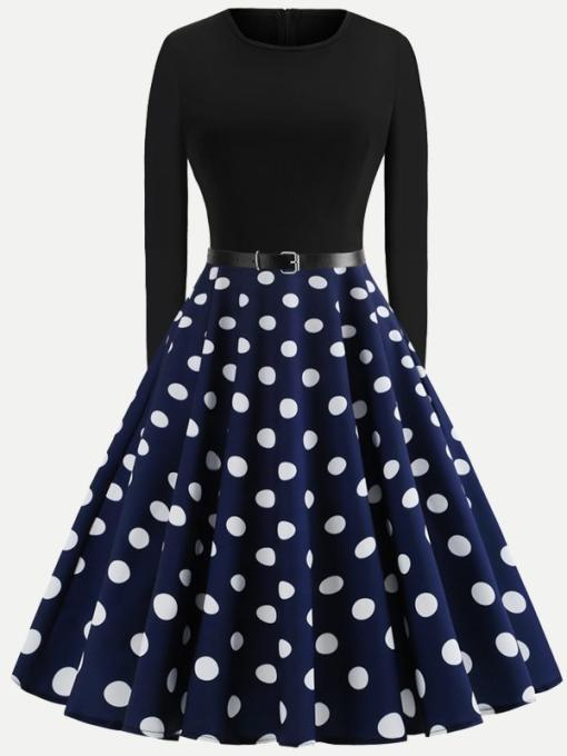 Polka Dots Print Belted Circle Dress With Long Sleeves