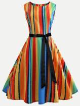 Colorful Striped Vintage Lacing Flared Dress