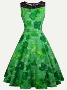Contrast Lace Green Clovers Print Tank Dress