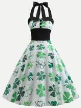 Green Halter Neck Clovers Print Backless Tank Dress