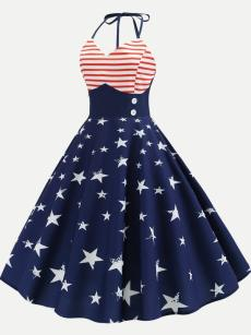 Independence Day Striped Star Halter Dress