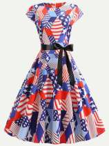 The American National Flag Print Flare Lacing Dress