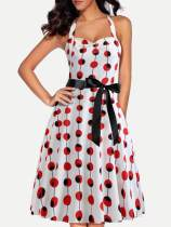 White Halter Neck Polka Dots Print A-line Dress