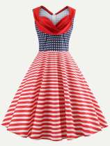 Vintage Style Stars & Striped Print Ruched Flare Dress
