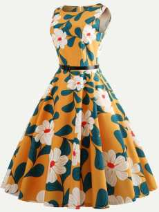 50s Floral Print Belted Sleeveless A-line Dress