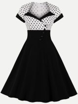 Polka Dots Print Black A-line Dress With Sleeves