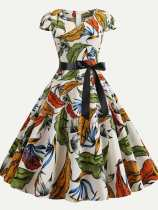 50s Floral Print Lacing Dress With Sleeves
