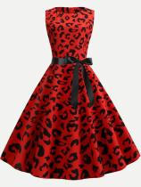 Red Leopard Print Tank Lacing Flare Dress