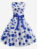 Polka Dots Print Tank Circle Dress With Lacing