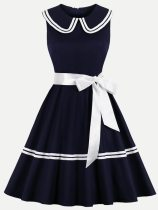 Navy Color Block Belted Tank Flare Dress