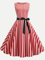 Red Striped Tank Lacing Flare Dress