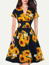 V Neck Sunflower Print Flare Cotton Dress With Pockets