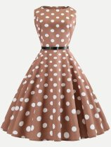 Polka Dots Print Belted 60s Style Tank Dress