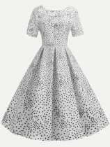 Polka Dots Print Bow Back Vintage Flare Dress