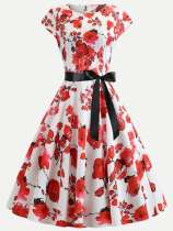 60s Vintage Style Floral Print Lacing Circle Dress