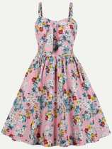 Floral Print Bow Front Cotton Slip Dress