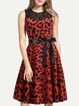50s Contrast Lace Leopard Print Lacing Circle Dress