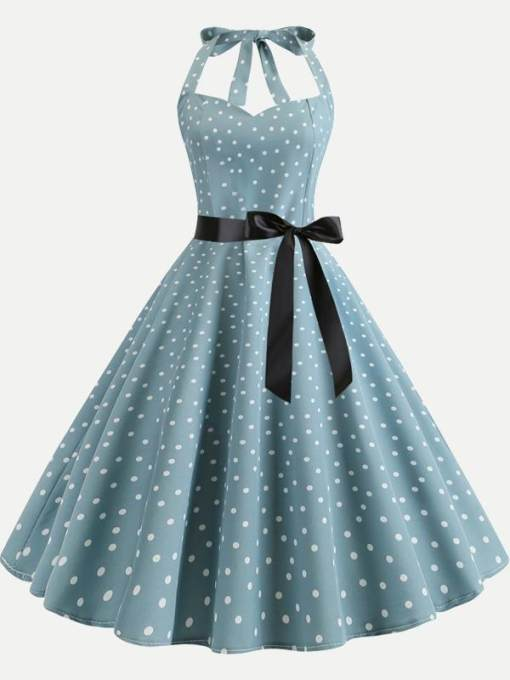 Halter Neck Polka Dots Print Tank Flare Dress