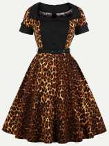 70s Leopard Print Belted Cotton Dress With Sleeves