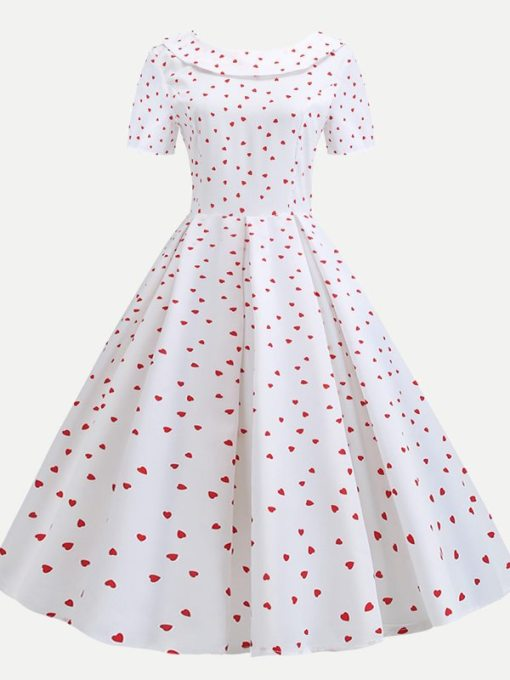 Heart Print Bow Back Vintage Flare Dress