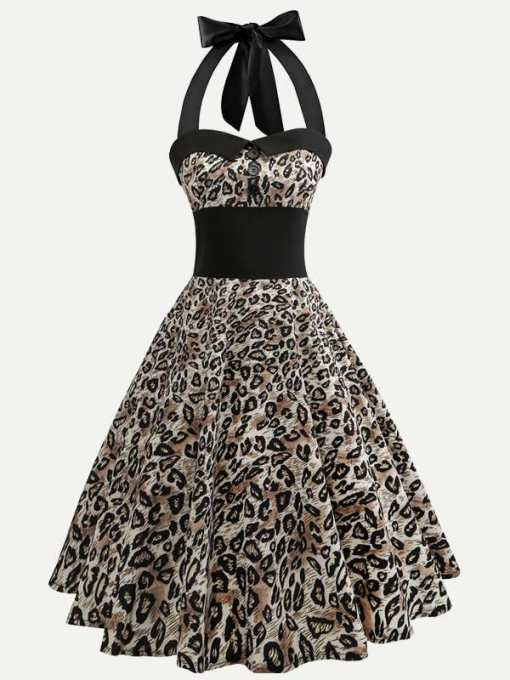 Halter Neck Leopard Print Tank Retro Flare Dress