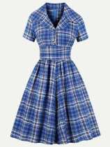V Neck Plaid Print Blue Flare Dress