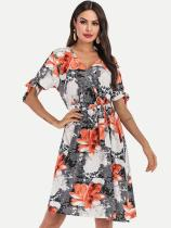 Floral Print V Neck Belted Knee Boho Dress