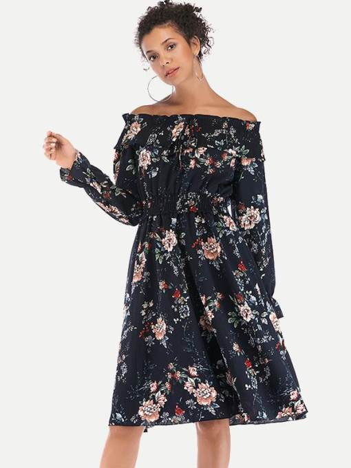 Navy Off Shoulder Floral Print Flare Dress
