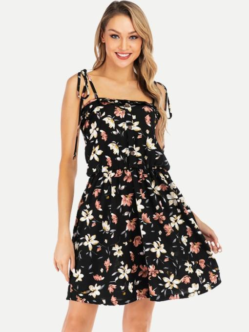 Black Floral Print Slip Cami Dress