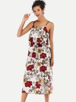 Floral Print Backless Slip Chiffon Dress