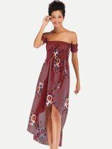 Off Shoulder Bandeau Floral Print Irregular Wrap Dress