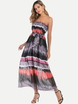 Bandeau Belted Gradient Plus Size Long Boho Dress